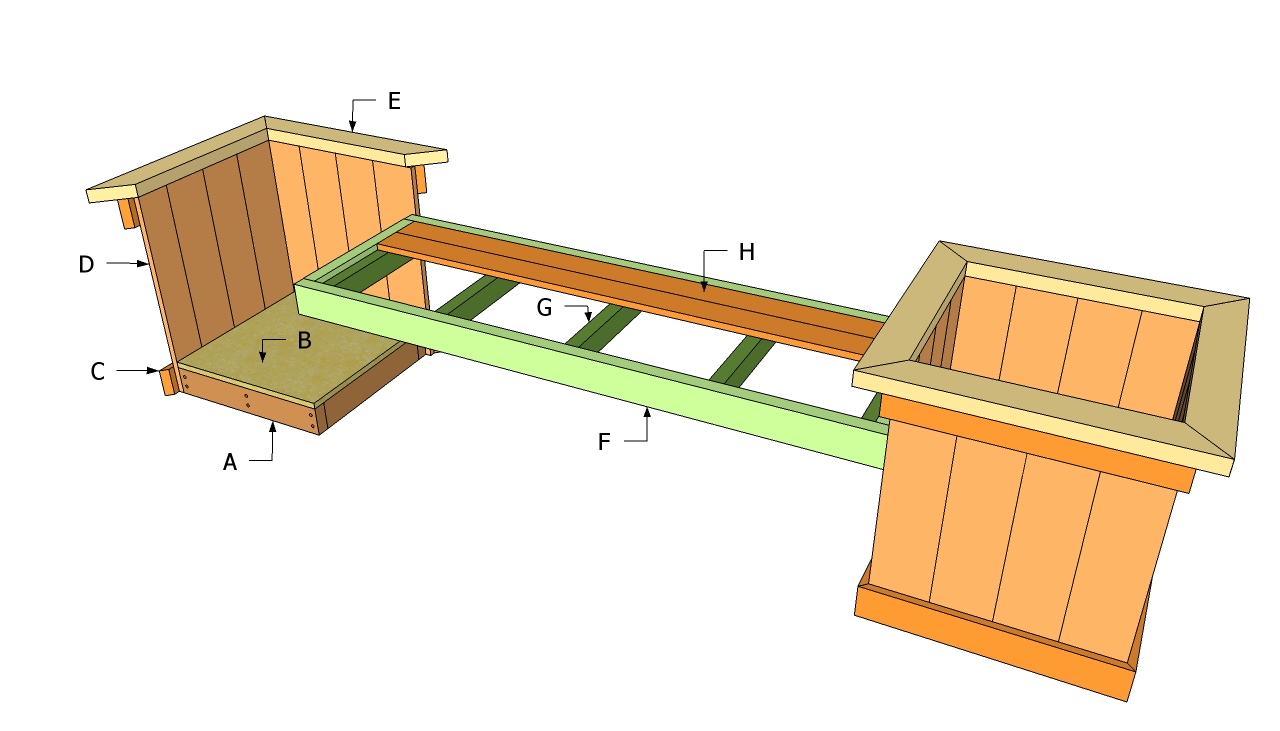 Outdoor bench with planters plan